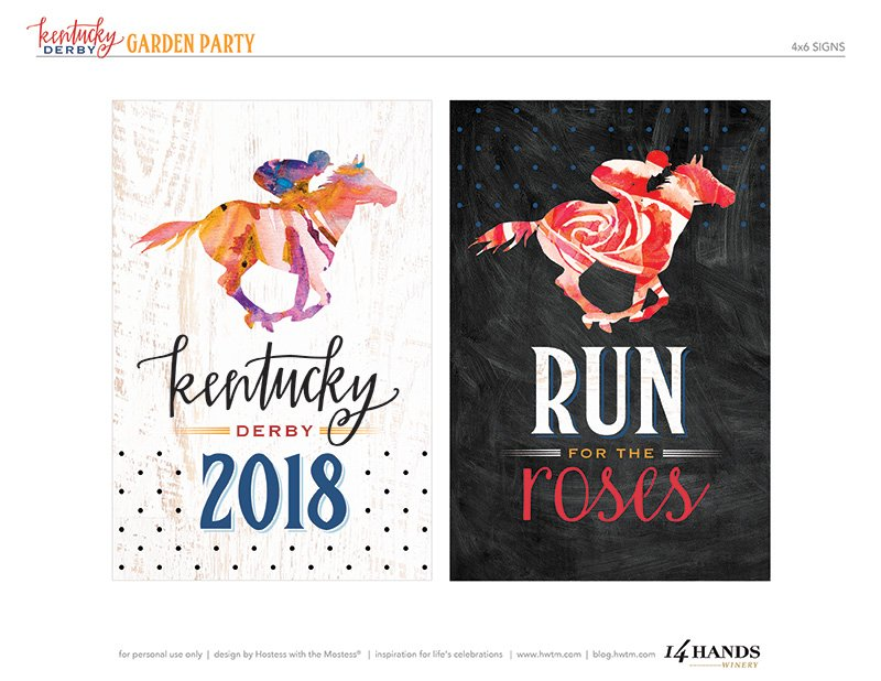 Kentucky Derby Printables - 4x6 Signs