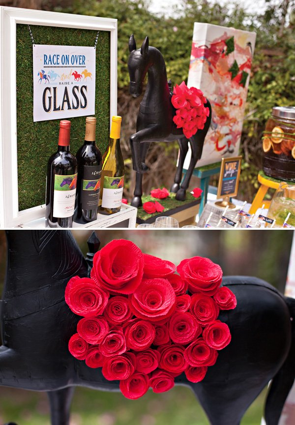 DIY Red Crepe Paper Roses - Kentucky Derby Wine Party