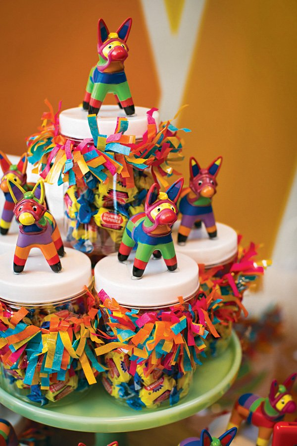 mini piñata topped party favor jars