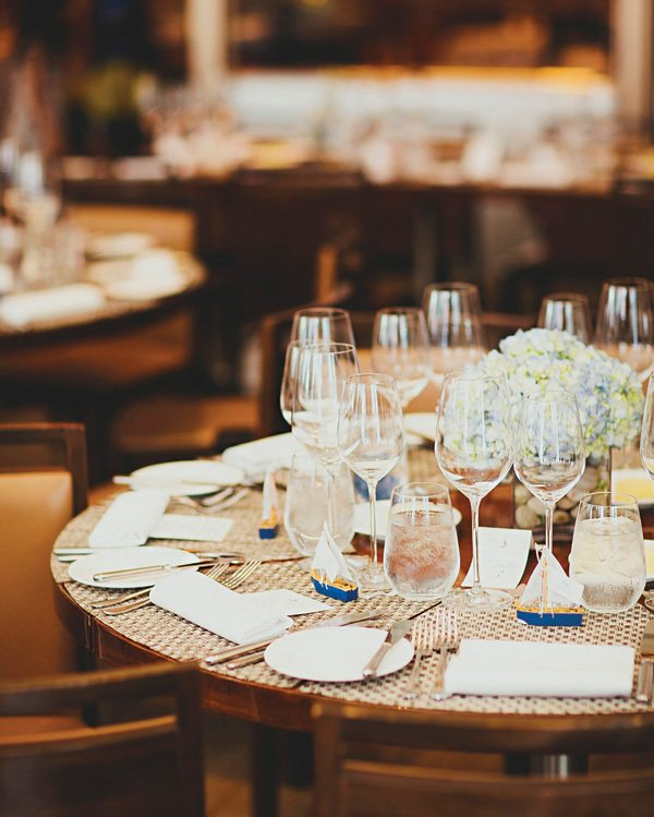 nautical formal place setting and tablescape