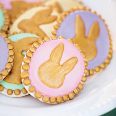 pastel and gold rabbit cookies
