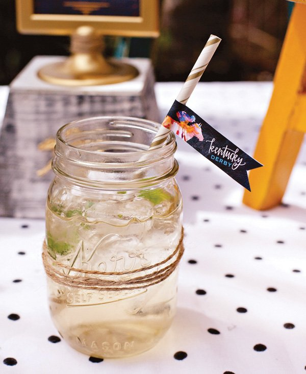 Mason Jar Drinks with Twine and Kentucky Derby Party Flags by HWTM