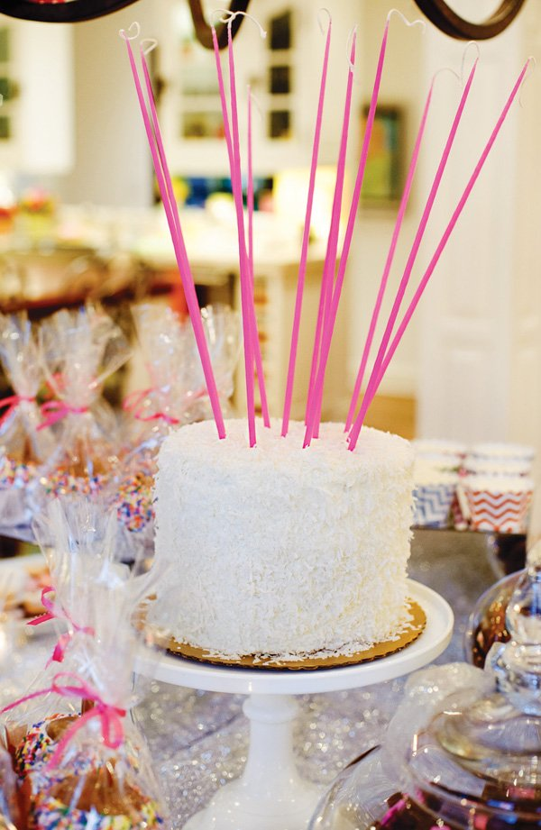 tall pink birthday cake candles