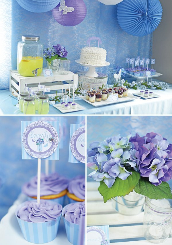blue and purple spring dessert table
