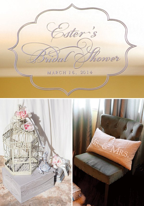 custom bridal shower decal and pillow