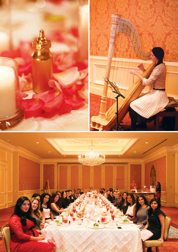 formal shower party harpist and gold painted baby items