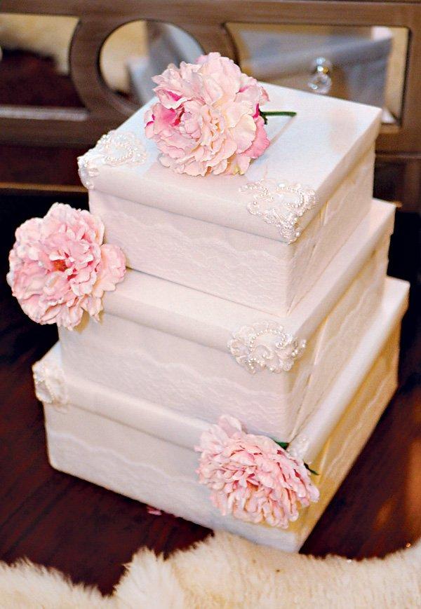 lace and peony bridal shower box cake