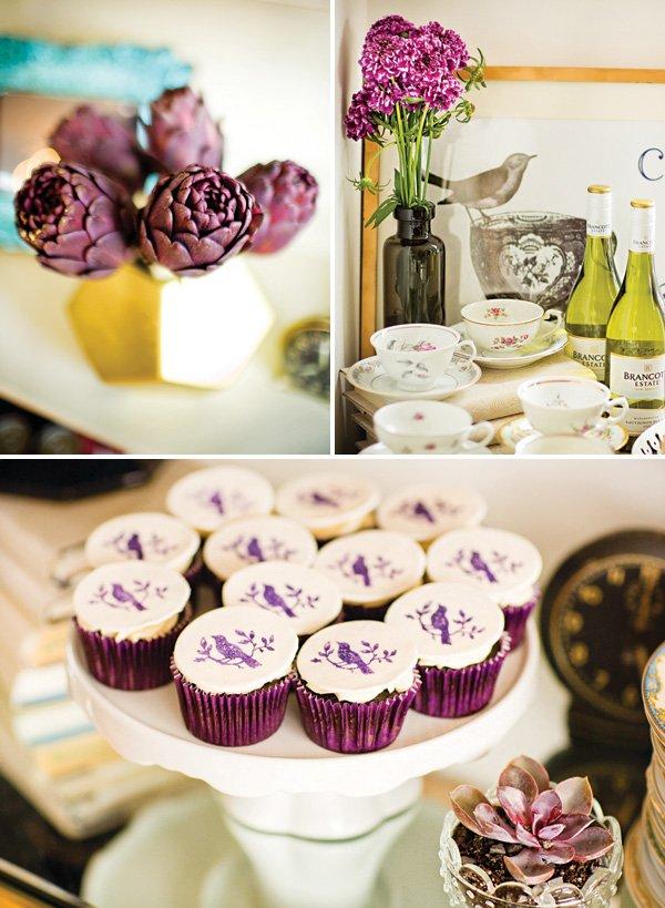 purple artichokes floral arrangement and purple bird cupcakes