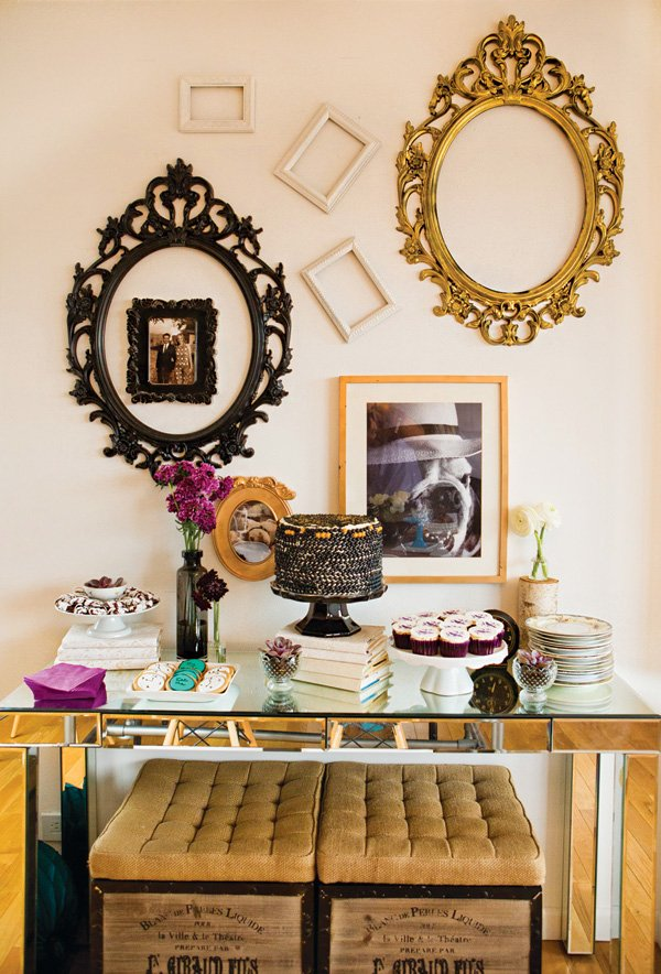 whimsical frame wall backdrop for the dessert table