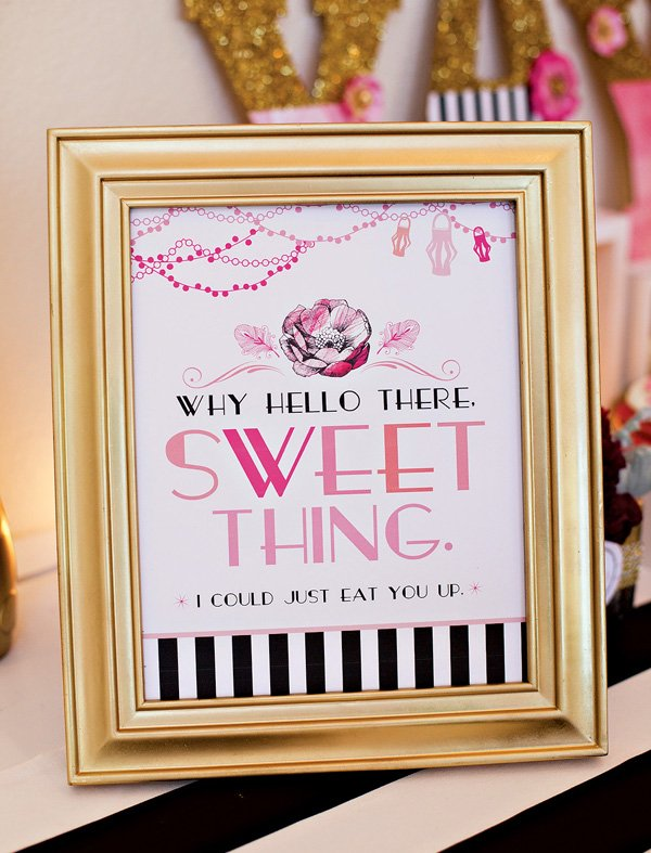 Pink and Gold Dessert Table Sign