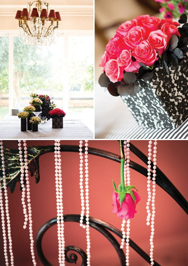 pink rose bouquets and party decor