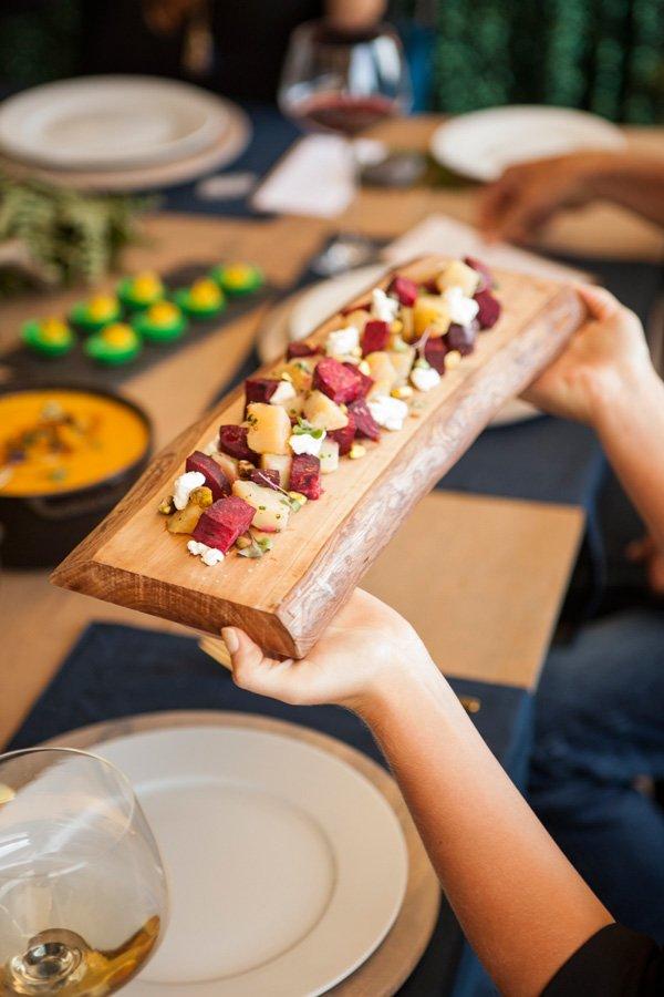 wooden plank board salad display