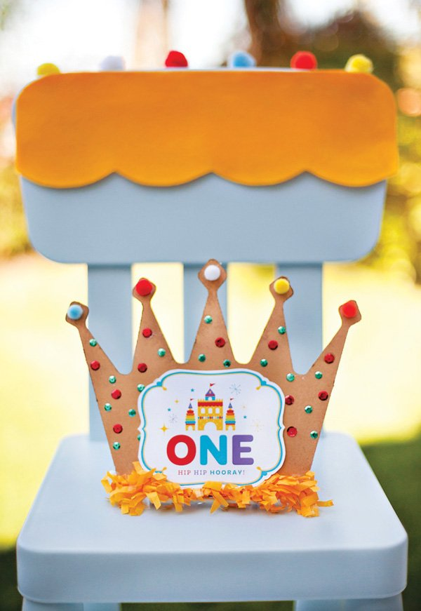DIY Royal First Birthday Party Crown and Kids Chair