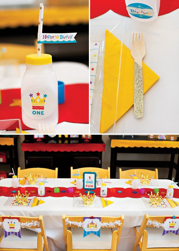 Royal Birthday Party Kids Table with sparkly utensils