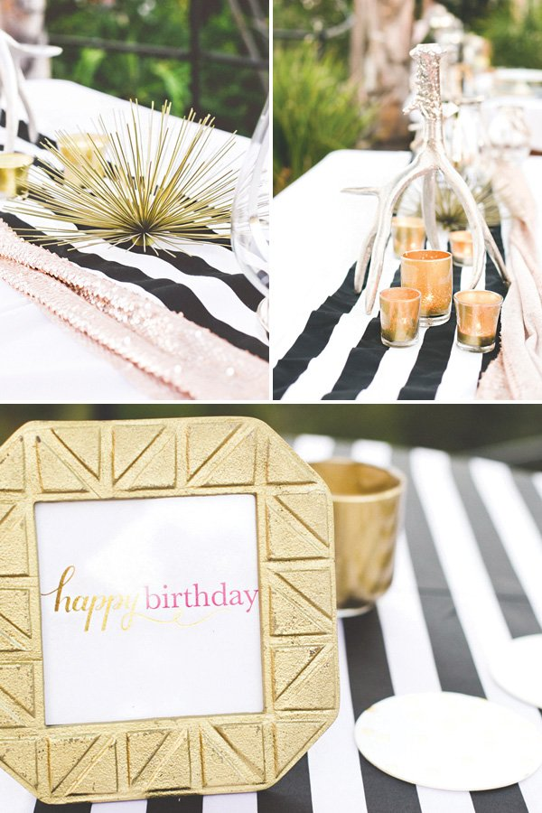 chic black, white and gold tablescape centerpieces