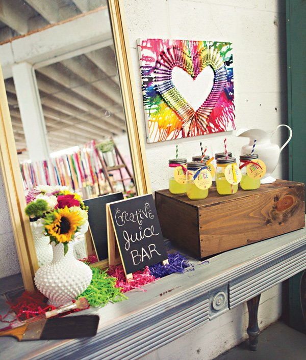 creative juice bar for an art birthday party