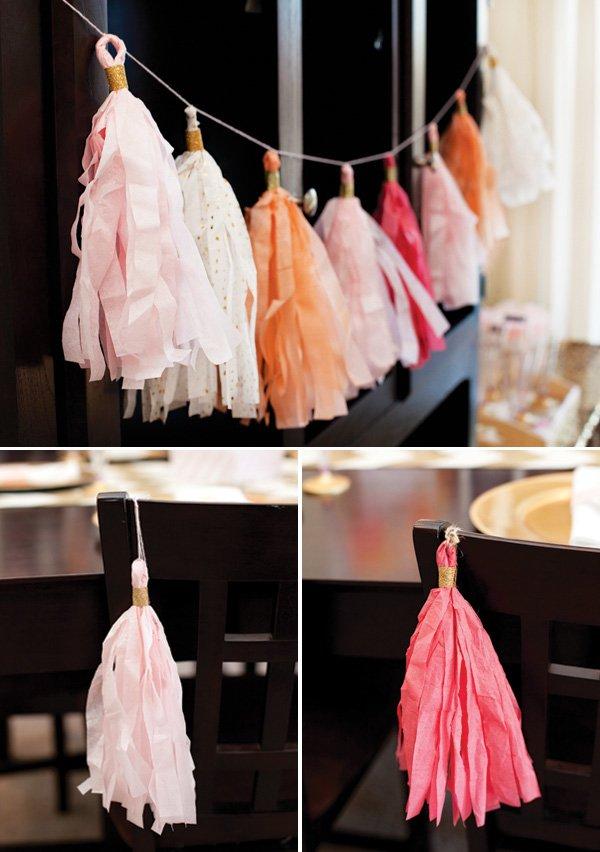 diy tissue tassel garlands - pink peach gold