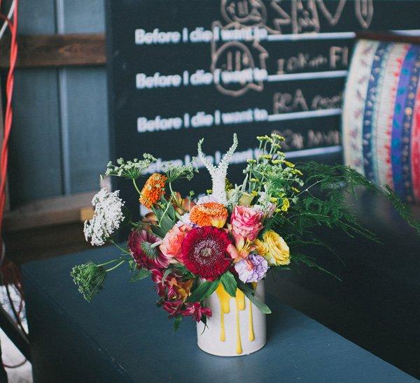 paint can floral arrangement vase