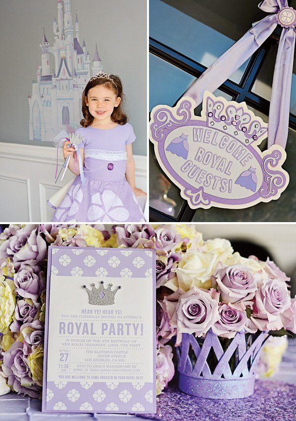sofia the first birthday party welcome sign and invitation