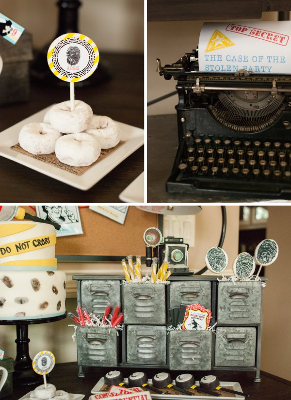 detective party candy table