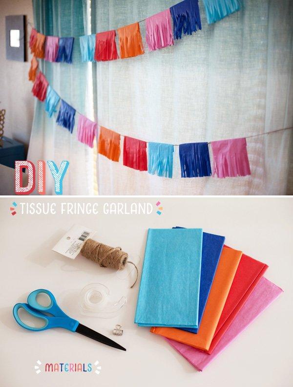DIY Tissue Fringe Garland