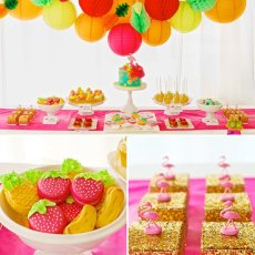 fruity flamingo birthday party dessert table