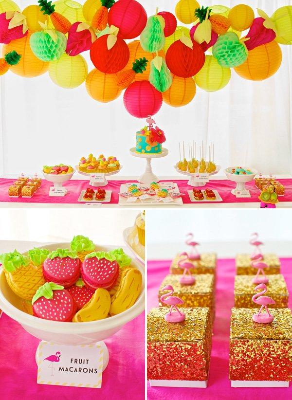 fruity flamingo birthday party dessert table