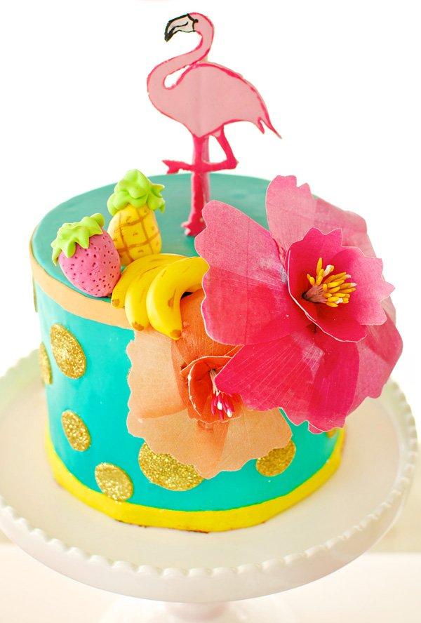 hawaiian flamingo birthday cake