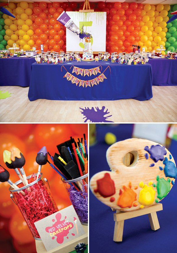rainbow painting birthday party dessert table