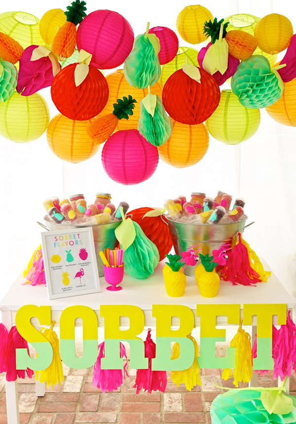 summer fruity sorbet table with fruit poms