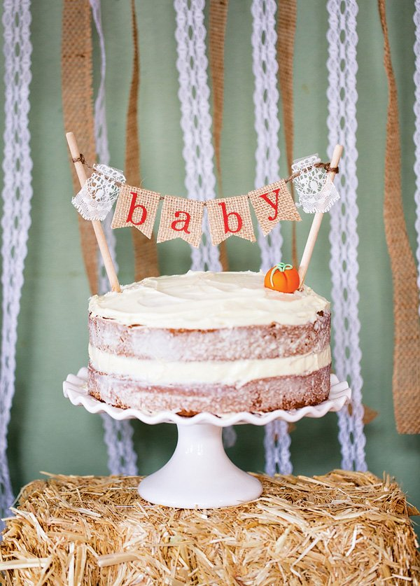 homemade fall pumpkin baby shower cake