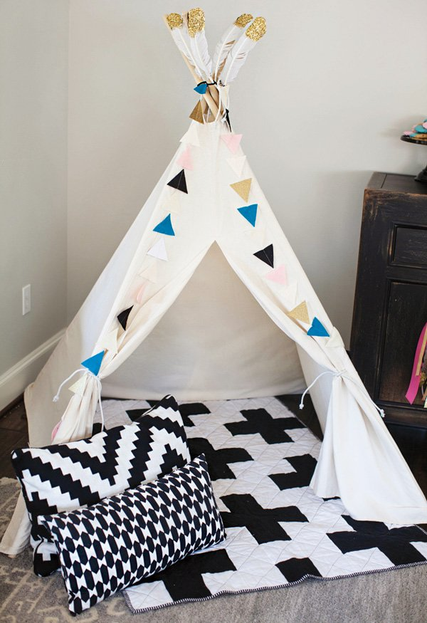 indoor teepee as a party lounge area