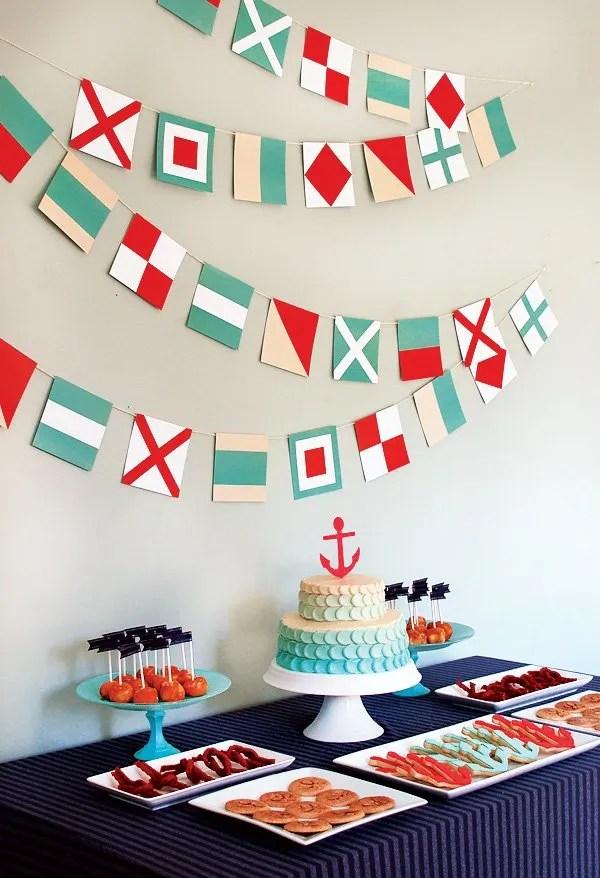 nautical baby shower dessert table