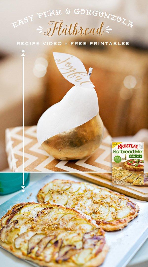 Pear and Gorgonzola Flatbread Pizza Recipe