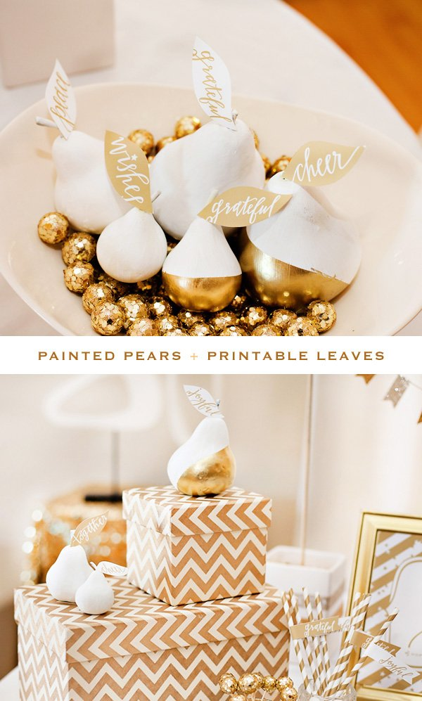 gold and white pears centerpiece