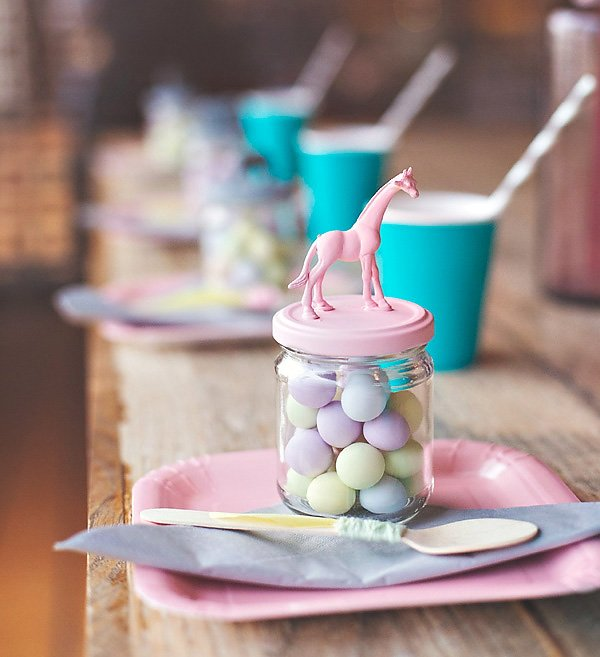 diy animal topped favor jars - pastel colors