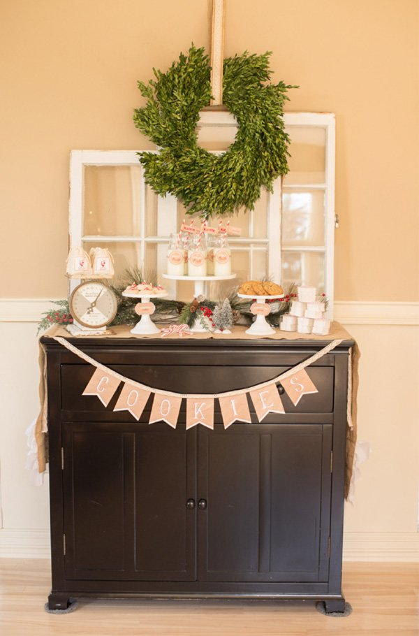 rustic milk and cookies table