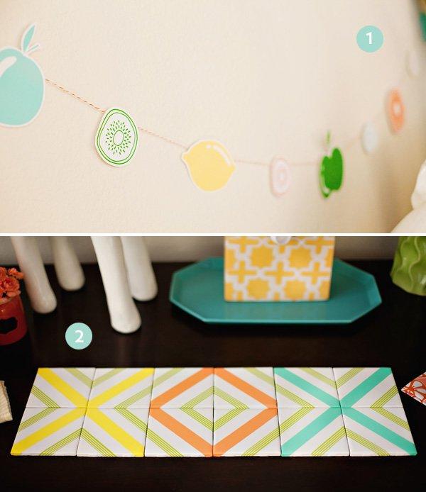 Kitchen Themed Printable Banner & DIY Tile Table Runner