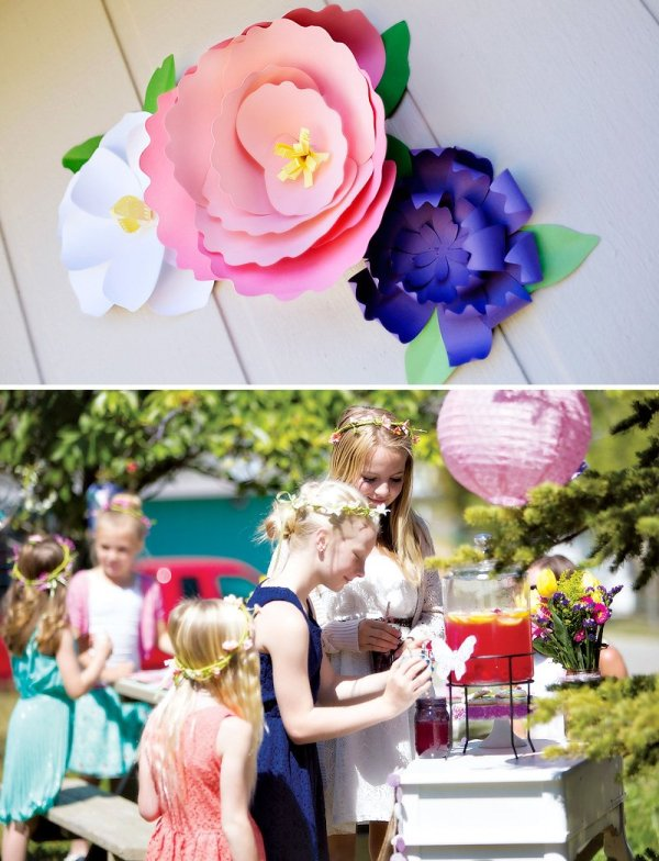 giant paper flowers + garden party drinks
