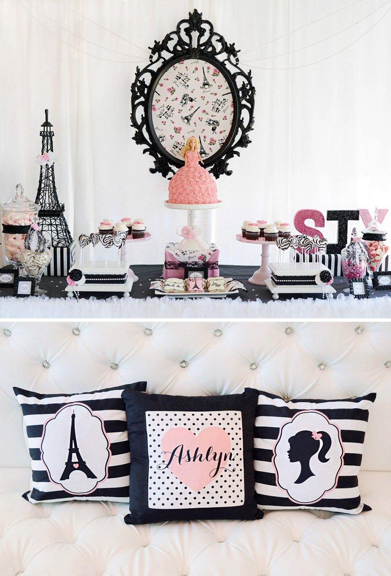 Barbie in Paris birthday party dessert table