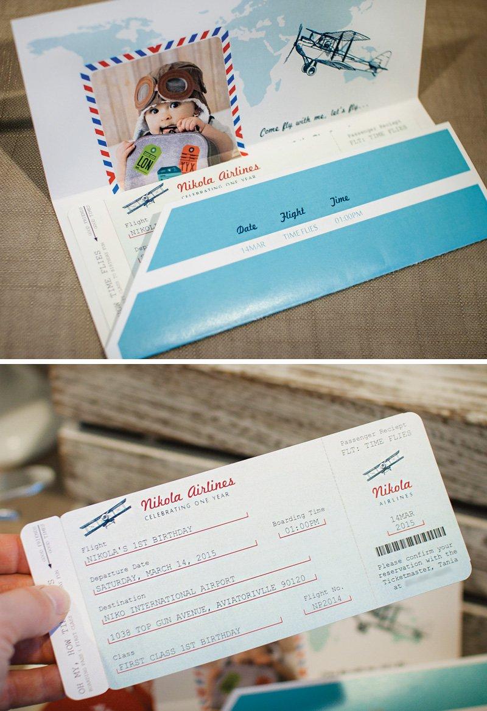 airplane ticket birthday party invitations