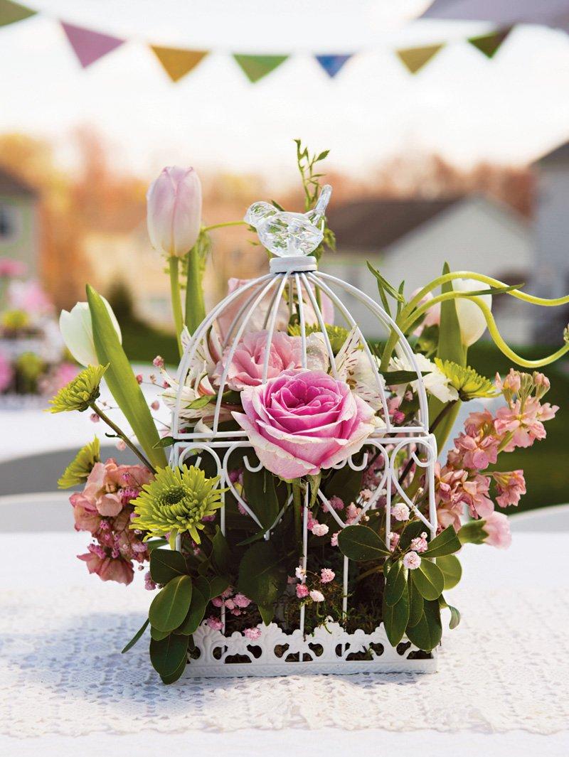 floral birdcage party centerpiece