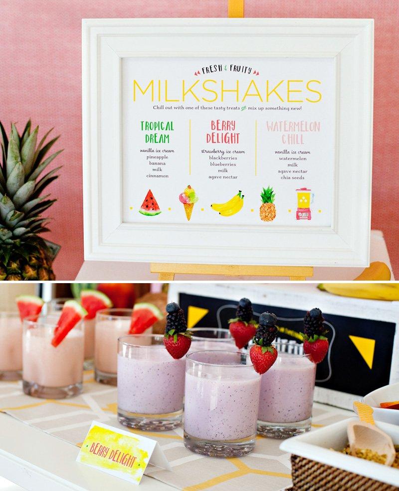 fruity milkshakes bar