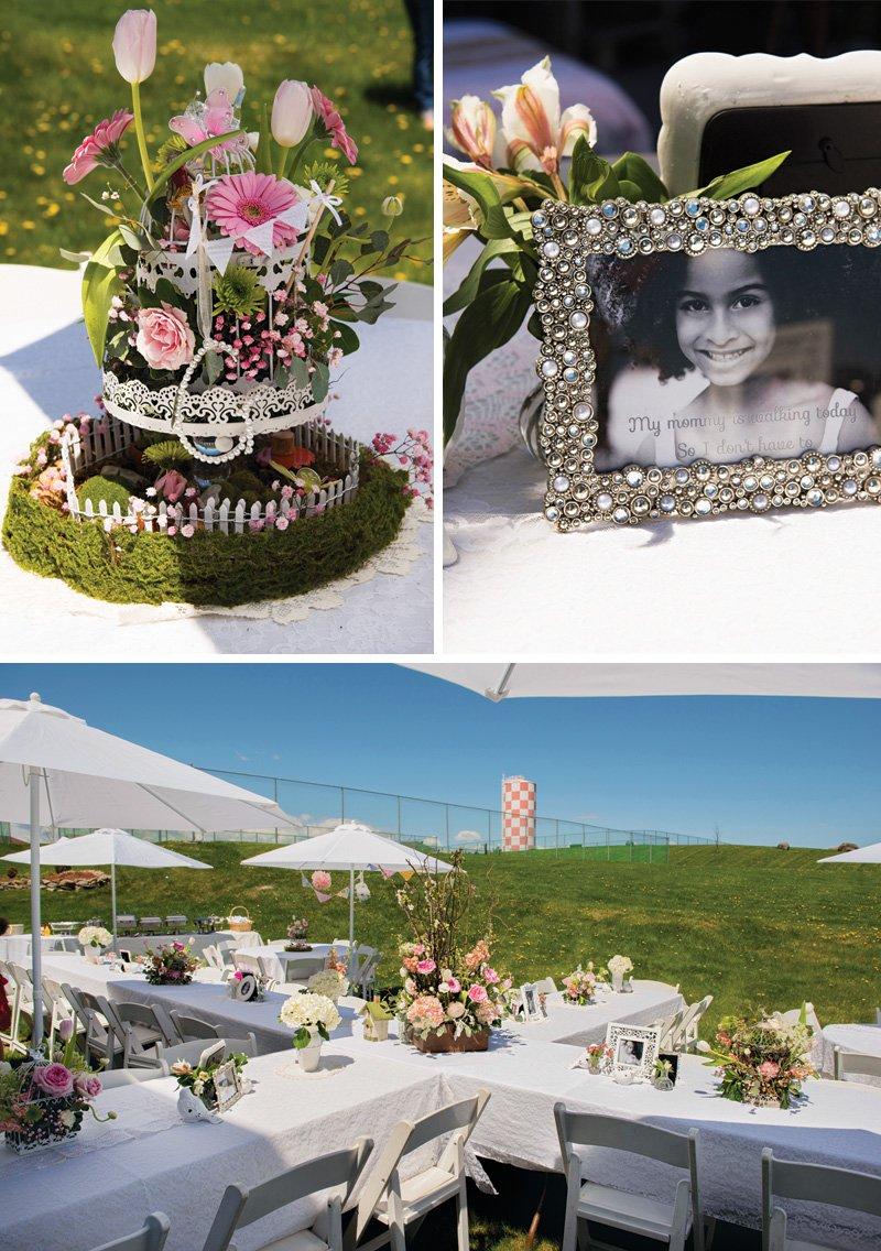 outdoor garden party centerpieces and tablescape