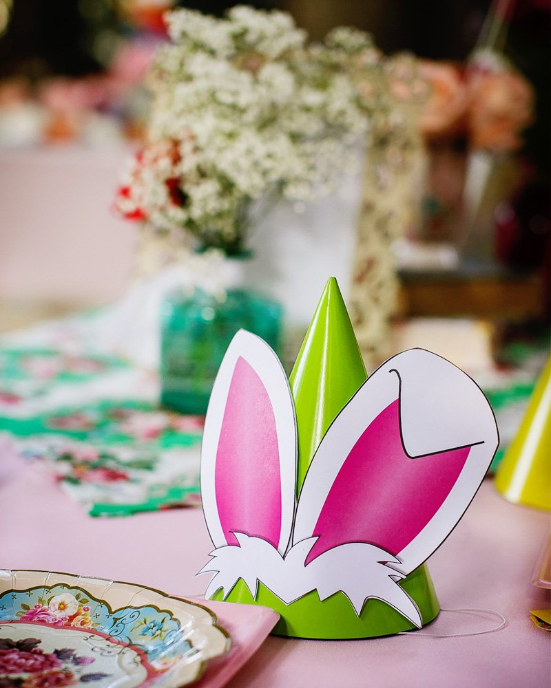 white rabbit party hat