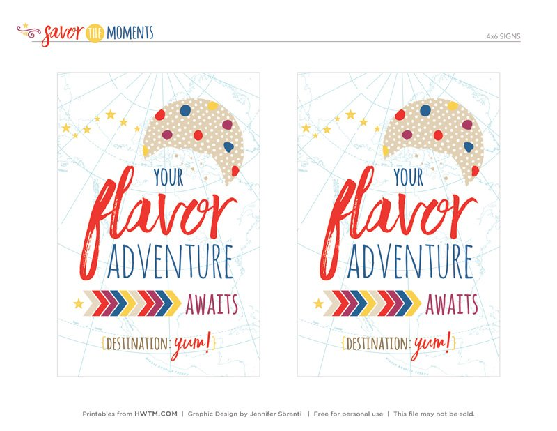 Cookie Craft Party Printables - 4x6 Signs - Flavor Adventure