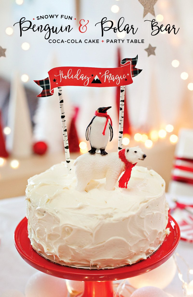Easy Coca-Cola Cake with Polar Bear Penguin Cake Topper