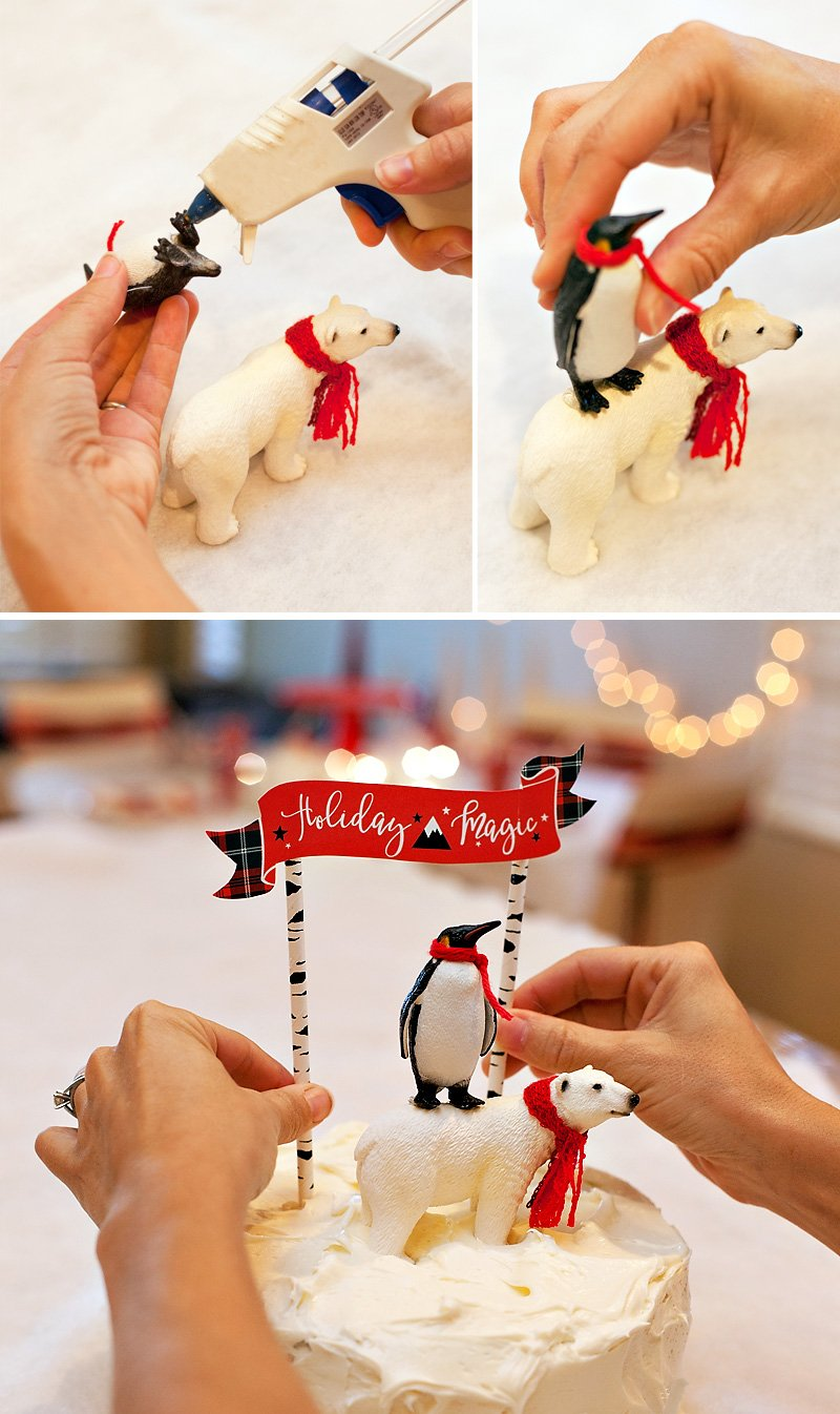 DIY polar bear penguin cake topper + free printables