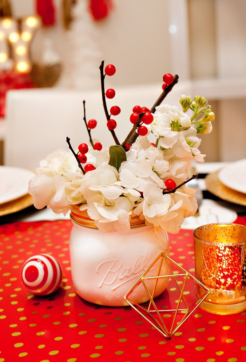 Red and White Holiday Centerpiece - Mason Jar and Berries