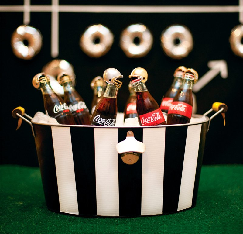 Football Drink Tub with Referee Stripes and Coke Bottle Players